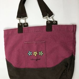 Life is Good Large Cotton Canvas Tote Bag pink